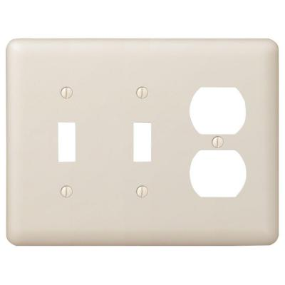 Declan 3 Gang 2-Toggle and 1-Duplex Steel Wall Plate - Almond