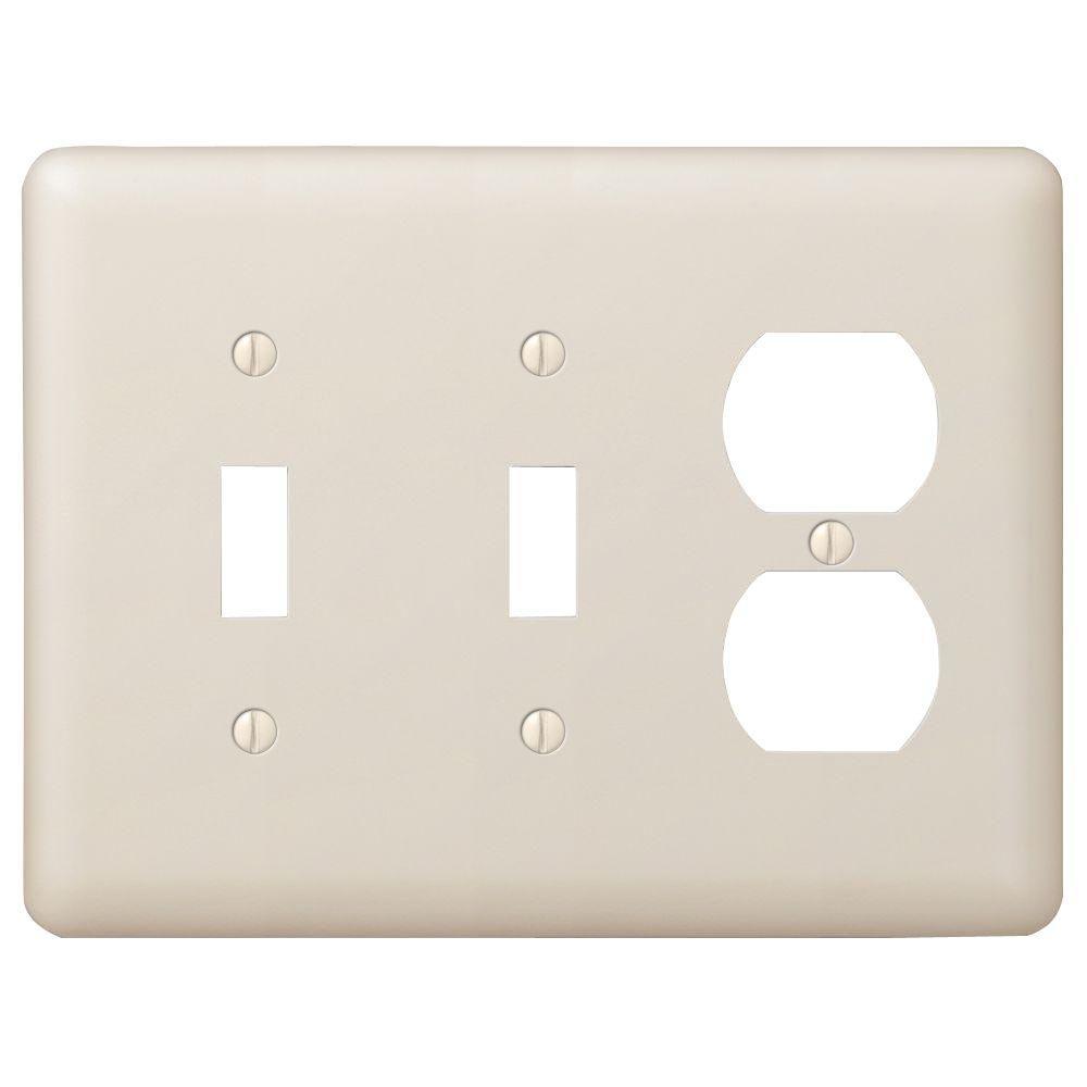 Devon 2 Toggle and 1 Duplex Combination Wall Plate - Almond
