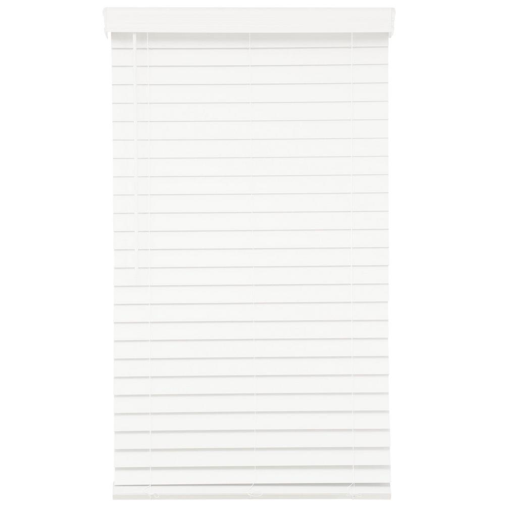 Home Decorators Collection White Cordless 2-1/2 in. Premium Faux Wood Blind - 34.5 in. W x 64 in. L (Actual 34 in. W x 64 in. L)