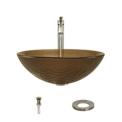 Glass Vessel Sink in Translucent Smoky Brown and Black with 726 Faucet and Pop-Up Drain in Brushed Nickel