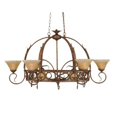 Concord Series 8-Light Bronze Chandelier with Amber Crystal Glass Shade
