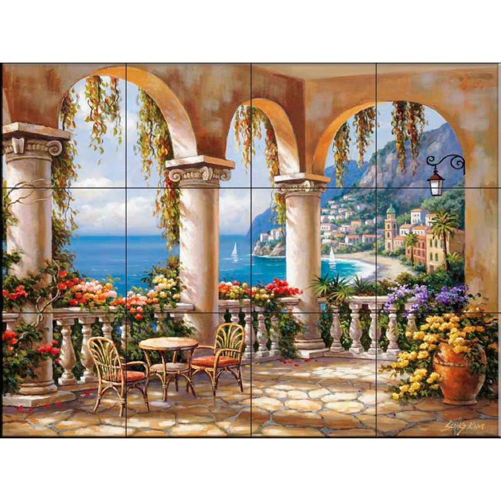 The tile mural store terrace arch i 24 in x 18 in for Ceramic mural tiles