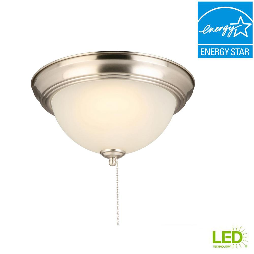 60 Watt Equivalent Brushed Nickel Integrated Led Flush Mount With Pull Chain And Gl Shade