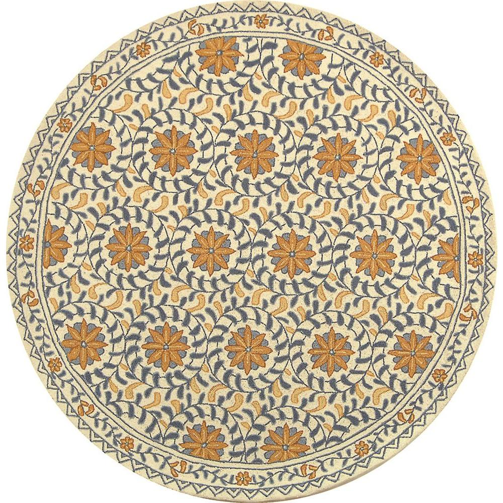 Safavieh Chelsea Ivory/Blue 5 ft. x 5 ft. 6 in. Round Area Rug