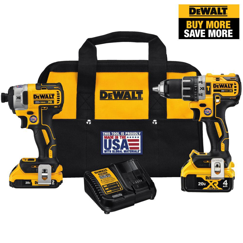 DEWALT 20-Volt MAX XR Cordless Brushless Hammer Drill/Impact Combo Kit (2-Tool) with (1) Battery 2Ah and (1) Battery 4Ah