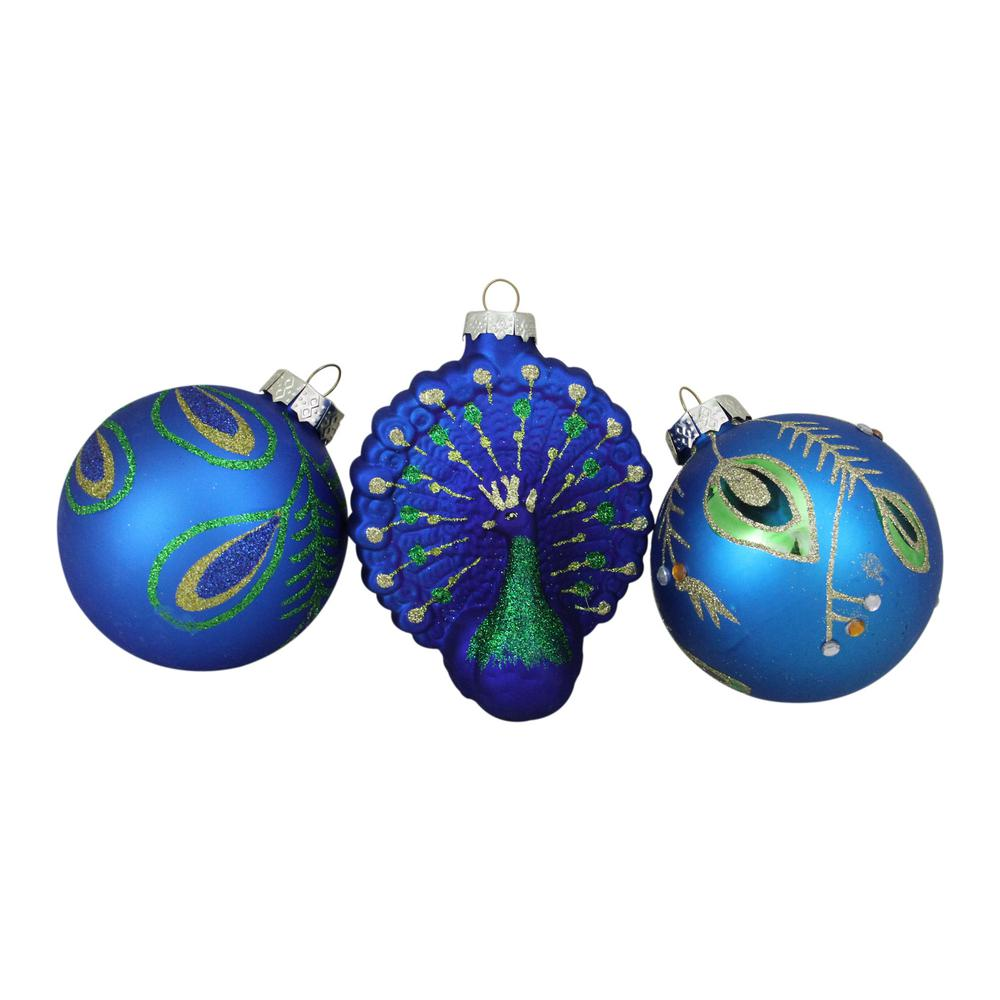 Northlight 3 25 In 80 Mm Peacock Design Glass Christmas Ornament Set 3 Count