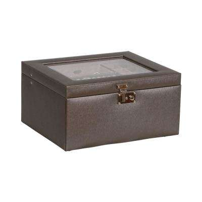 Linden Pewter Faux Leather Jewelry Box