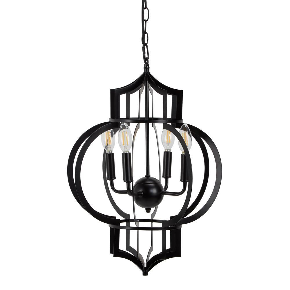 Eliana Black Metal Candelabra 4 Light Integrated LED Pendant