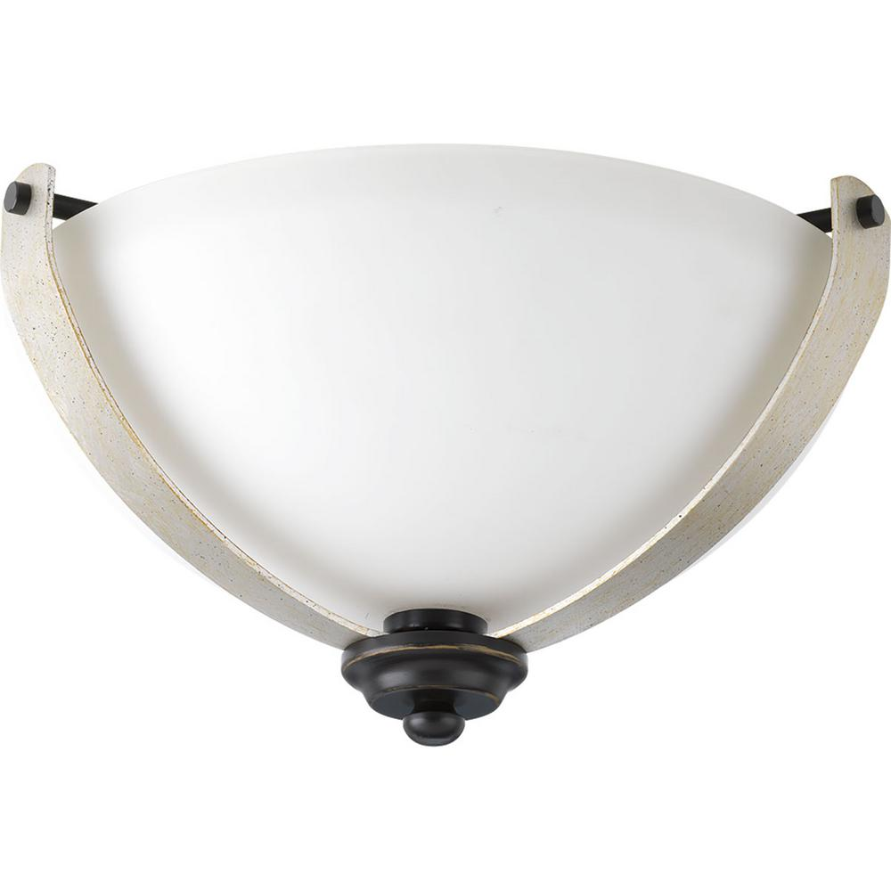 Noma Collection 2-Light Antique Bronze Flushmount with Etched White Glass Bowl