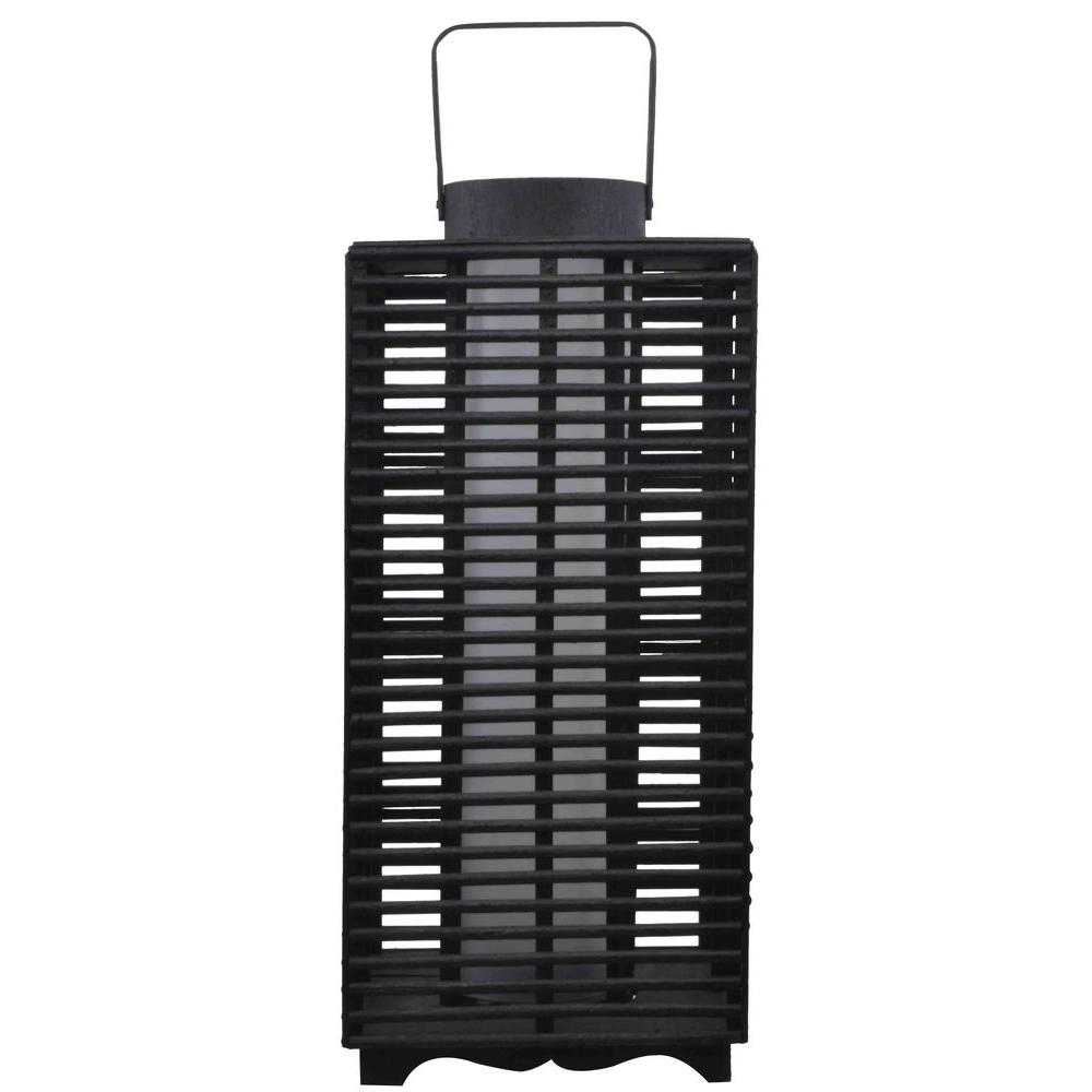 hampton bay solar and battery powered black outdoor led resin rattan lantern nxt 4718 the home. Black Bedroom Furniture Sets. Home Design Ideas