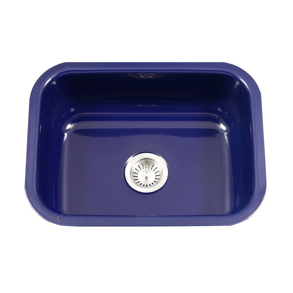 Houzer Porcela Series Undermount Porcelain Enamel Steel 23 In Single Bowl Kitchen Sink Navy
