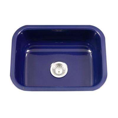 Porcela Series Undermount Porcelain Enamel Steel 23 in. Single Bowl Kitchen Sink in Navy Blue
