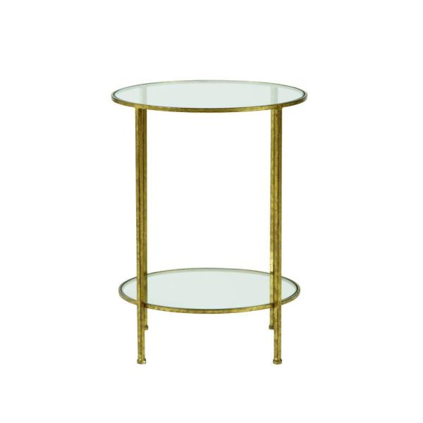 Home Decorators Collection Bella Aged Gold Glass Top End Table 9501300910