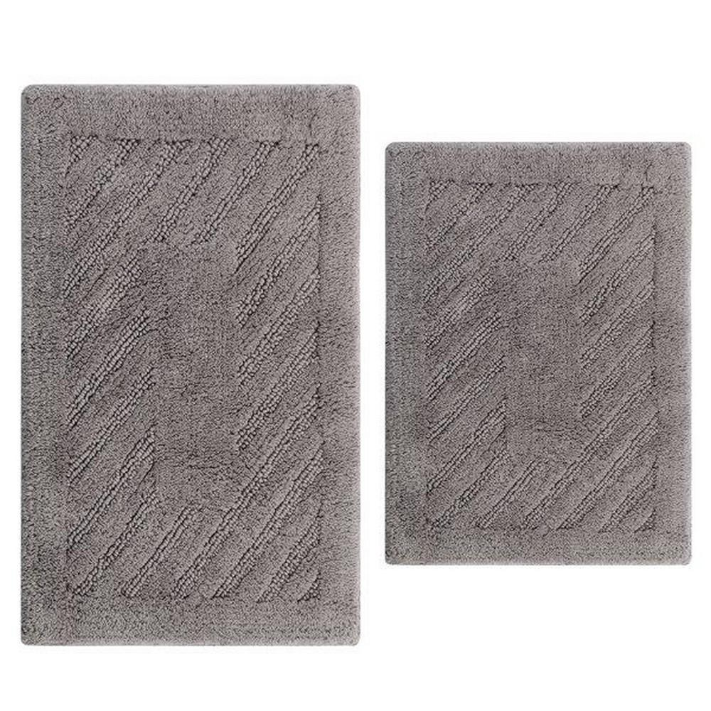 Silver 17 In. X 24 In. And 21 In. X 34 In. Diagonal Racetrack Reversible Bath Rug Set (2 Piece)