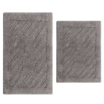 Silver 17 in. x 24 in. and 21 in. x 34 in. Diagonal Racetrack Reversible Bath Rug Set (2-Piece)