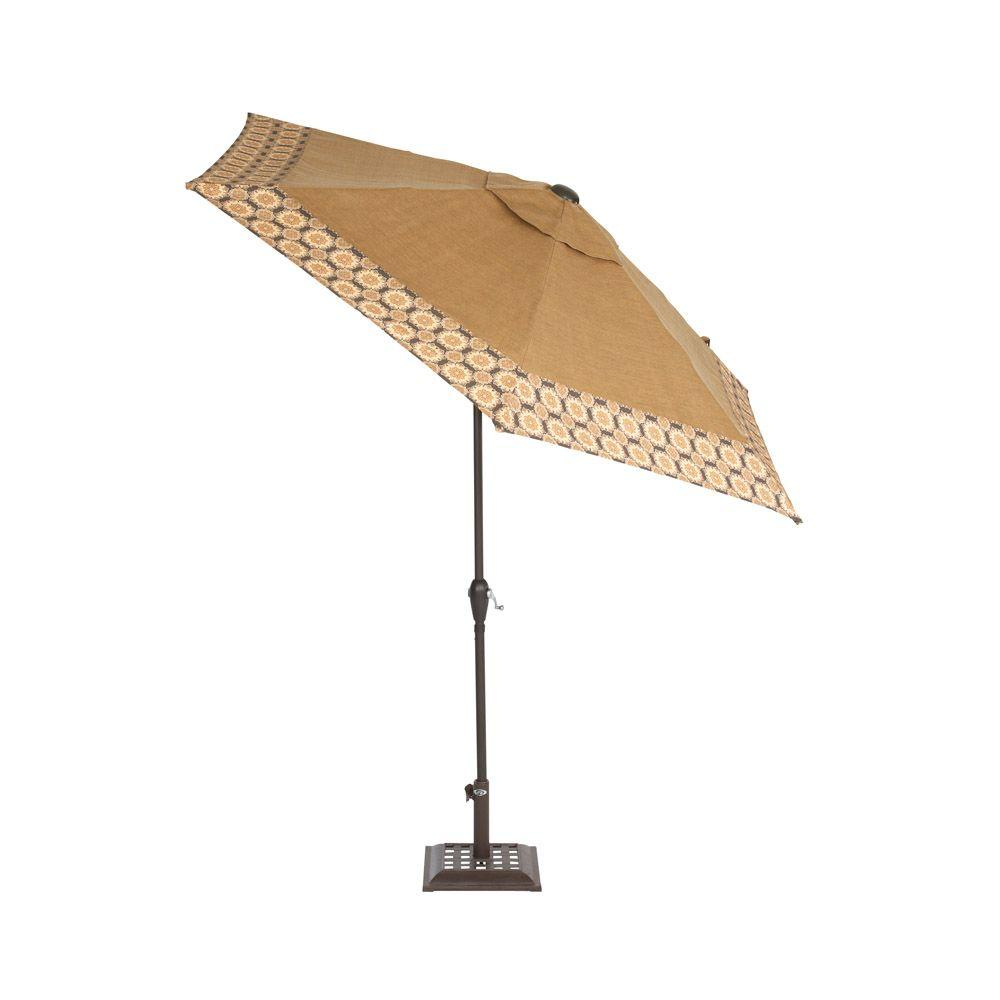Martha Stewart Living Miramar II 9 ft. Patio Umbrella in Tan with Trim Accent