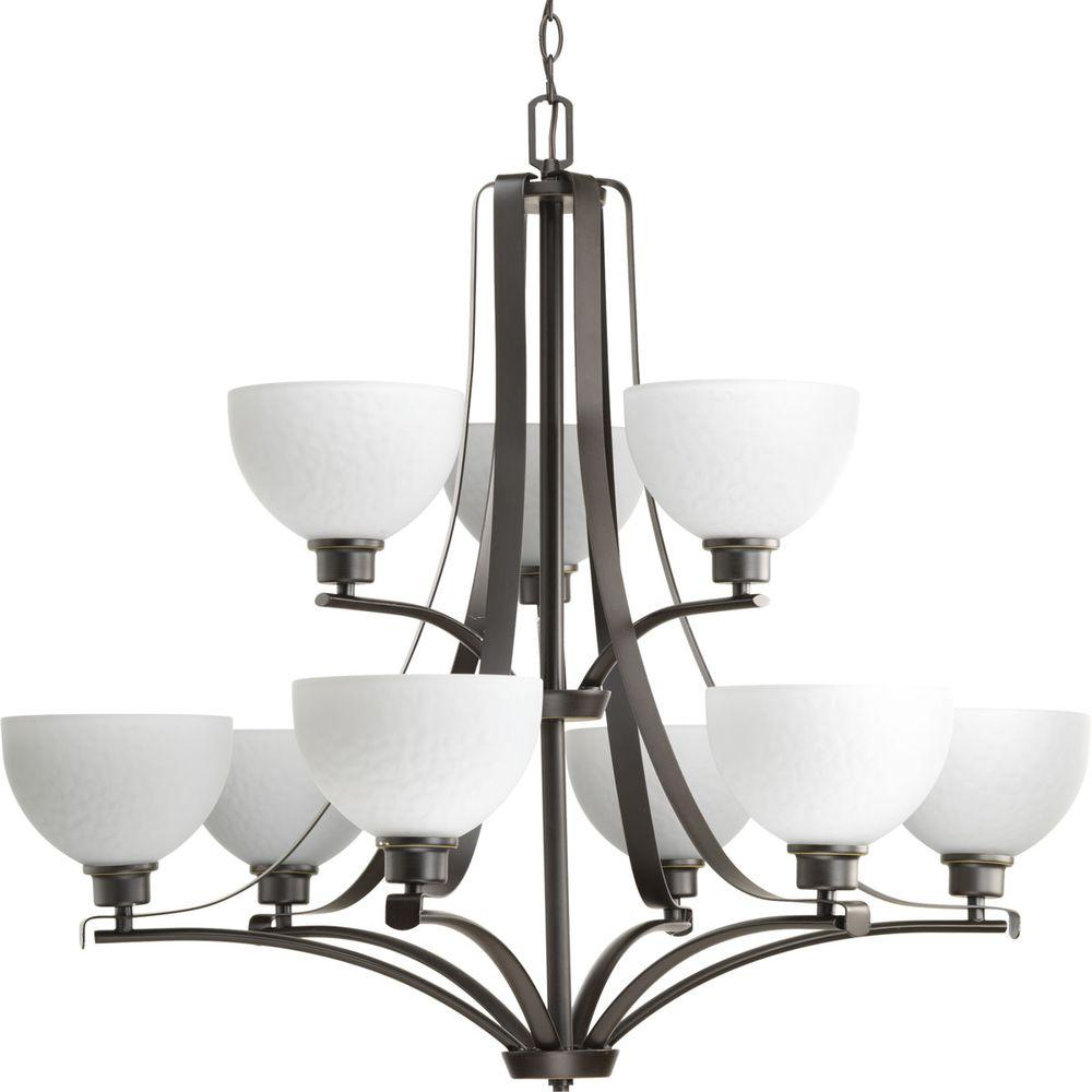 Legend Collection 9-Light Antique Bronze Chandelier with Shade with Sculpted