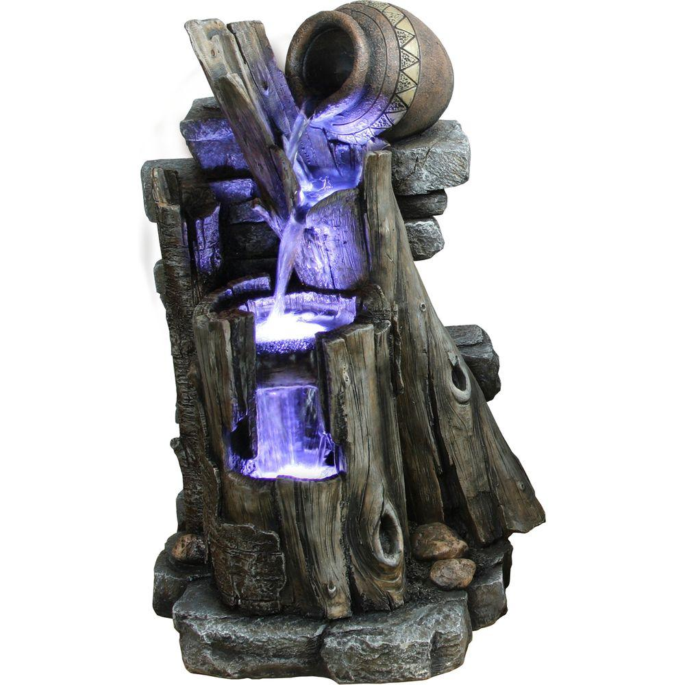 Yosemite Home Decor 3-Tiered Steps with Vase Polyresin Fountain