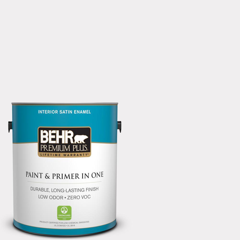 BEHR Premium Plus 1-gal. #W-D-610 White Glove Zero VOC Satin Enamel Interior Paint