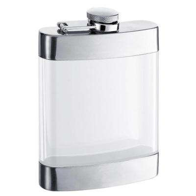 Clear See Thru Satin Hip Flask 6 oz.