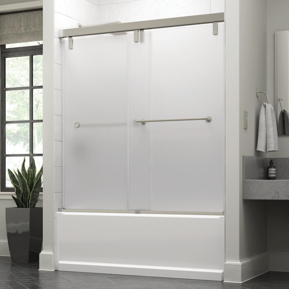 Crestfield 60 in. x 59-1/4 in. Mod Semi-Frameless Sliding Bathtub Door in Nickel and 3/8 in. (10mm) Niebla Glass
