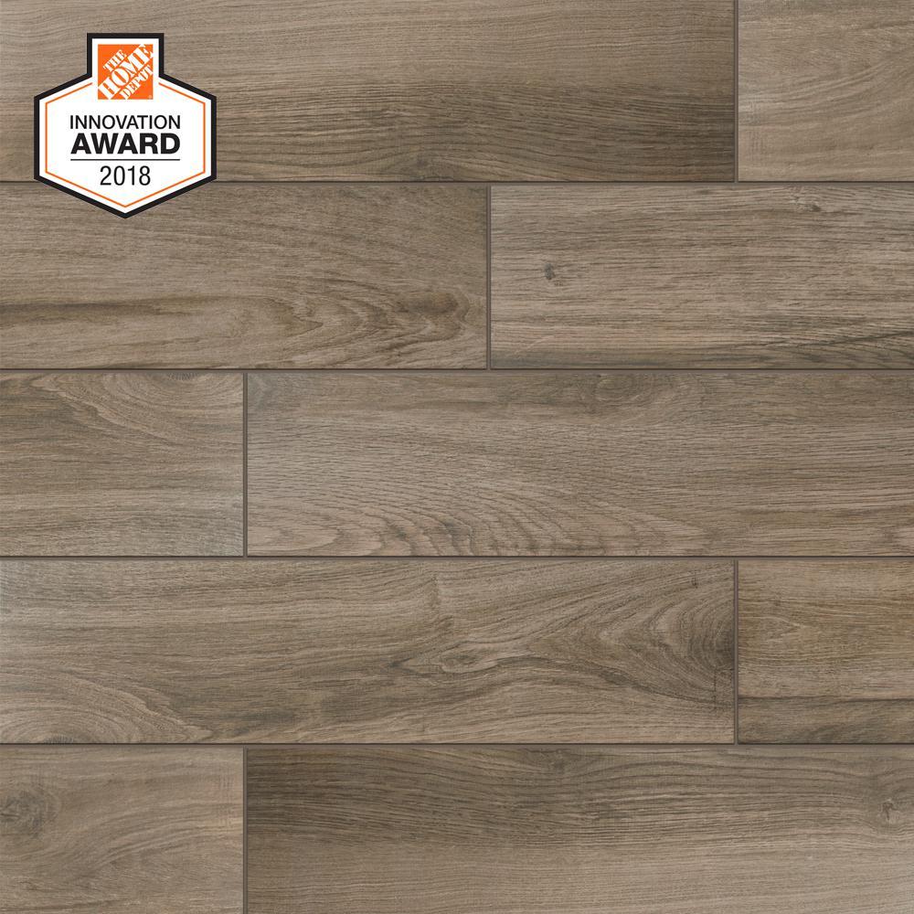 Sierra Wood 6 In X 24 Porcelain Floor And Wall Tile 14 55