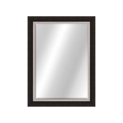 Clean Contemporary 22 x 28 Matte Black Gold Framed Vanity Mirror