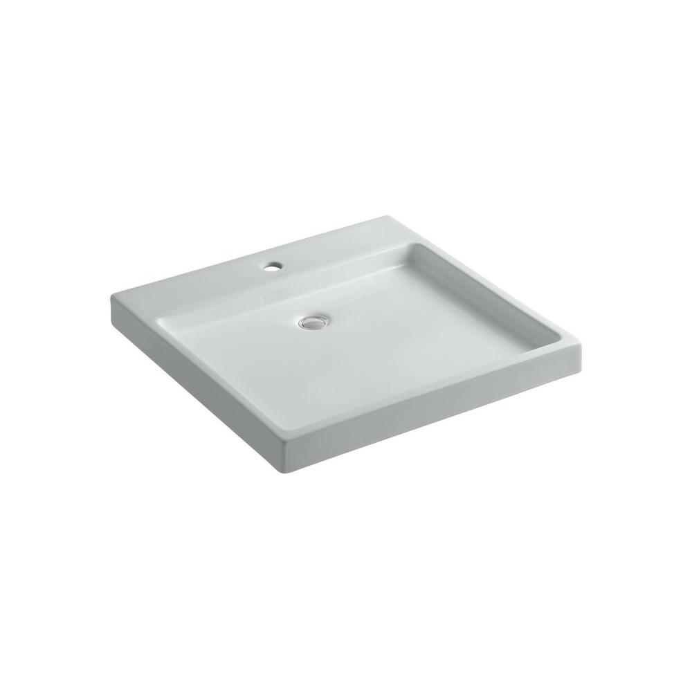 KOHLER Purist Wading Pool Above-Counter or Wall-Mount Ceramic Bathroom Sink in Ice Grey