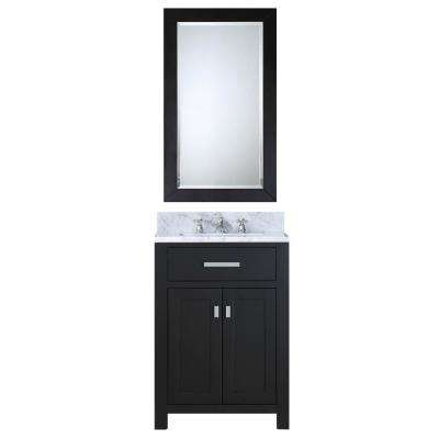24 in. Vanity in Espresso with Marble Vanity Top in Carrara White and Mirror