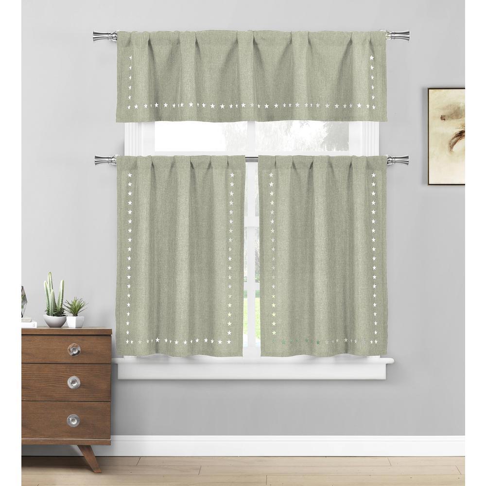 Conor Stars Sage Kitchen Curtain Set - 58 in. W x 15 in. L in (3-Piece)