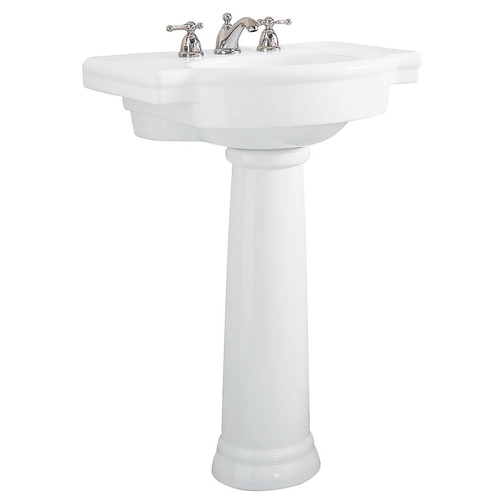Retrospect Pedestal Combo Bathroom Sink In White