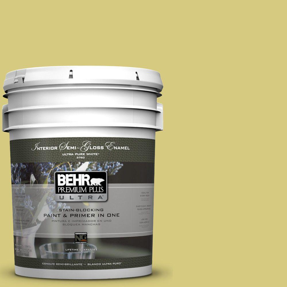 5-gal. #P350-4 Spring Grass Semi-Gloss Enamel Interior Paint