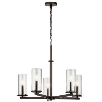 Crosby 5-Light Olde Bronze Chandelier with Clear Glass Shade