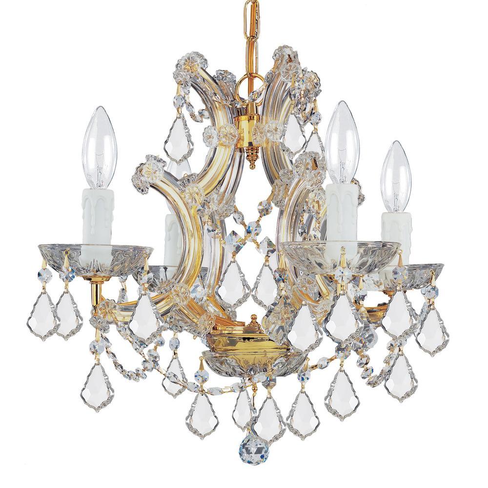 Maria Theresa 4-Light Clear Crystal Gold Mini Chandelier II