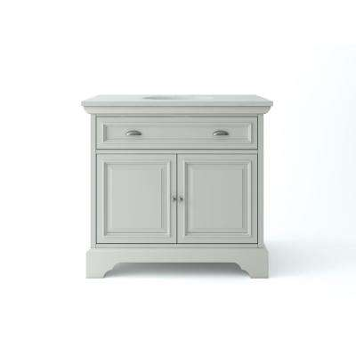 Sadie 38 in. W x 21.5 in. D Vanity in Antique Light Cyan with Marble Vanity Top in Natural White with White Basins