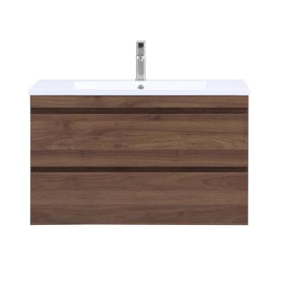 Vivian 36 in. Wall Mounted Bathroom Vanity in Walnut with Resin Vanity Top in White with Single White Basin