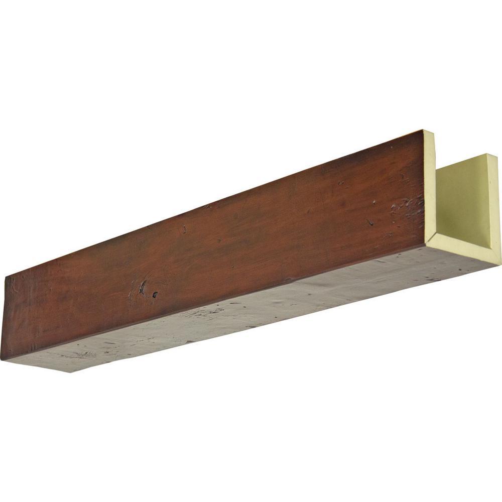 Ekena Millwork 6 In X 6 In X 8 Ft 3 Sided U Beam Knotty Pine Premium Mahogany Faux Wood Ceiling Beam Bmkp3c0060x060x096zm The Home Depot