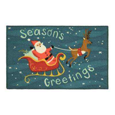 Santa 18 in. x 30 in. Printed Nylon Door Mat