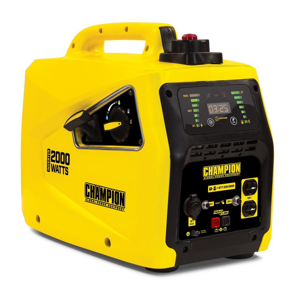 Champion Power Equipment 2,000-Watt Gasoline Powered Stackable Portable  Inverter Generator-100306 - The Home Depot