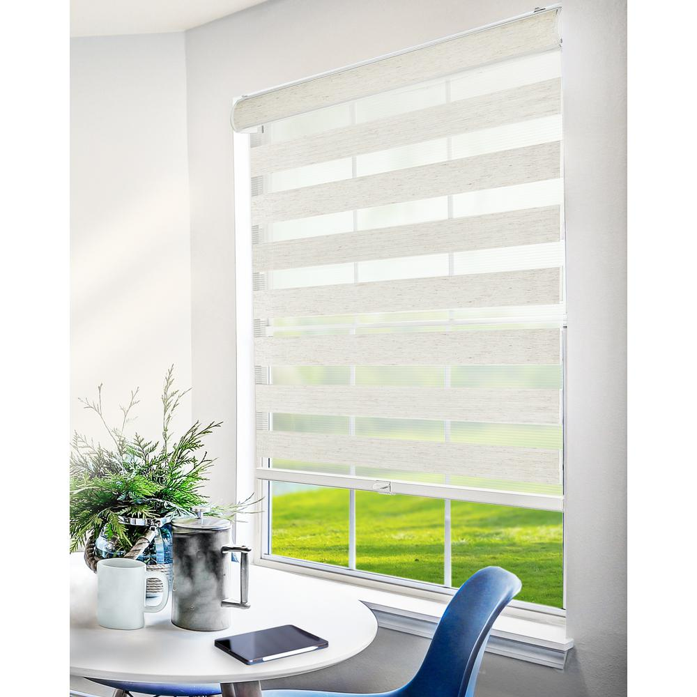 Chicology Basic Natural Cordless Cut-to-Width Light Filtering Dual Layer Zebra Roller Shade 70 in. W x 72 in. L