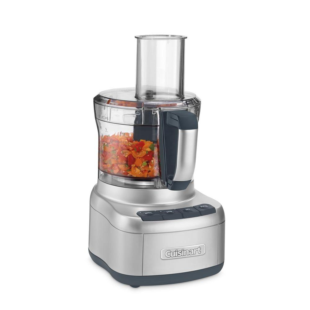 Cuisinart Elemental 8-Cup Silver Food Processor This Cuisinart Food Processor is designed to perform just about any food prep task a recipe calls for. It's big enough to chop ingredients for a party-sized portion of salsa, and powerful enough to turn a full work bowl of veggies into healthy pureed soups in seconds. Rubberized touch pad controls, and reversible shredding and slicing discs make this food processor a favorite of creative home cooks. Color: Silver.