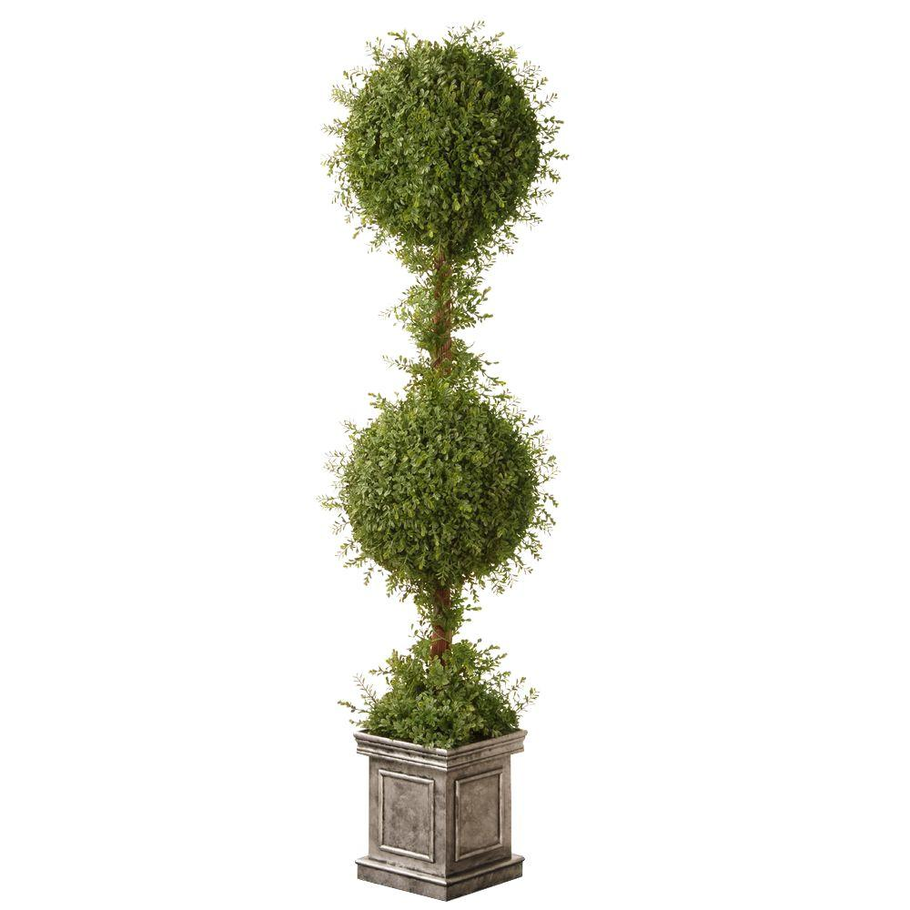 National Tree 60 in. Mini Tea Leaf 2 Ball Topiary in Silv...