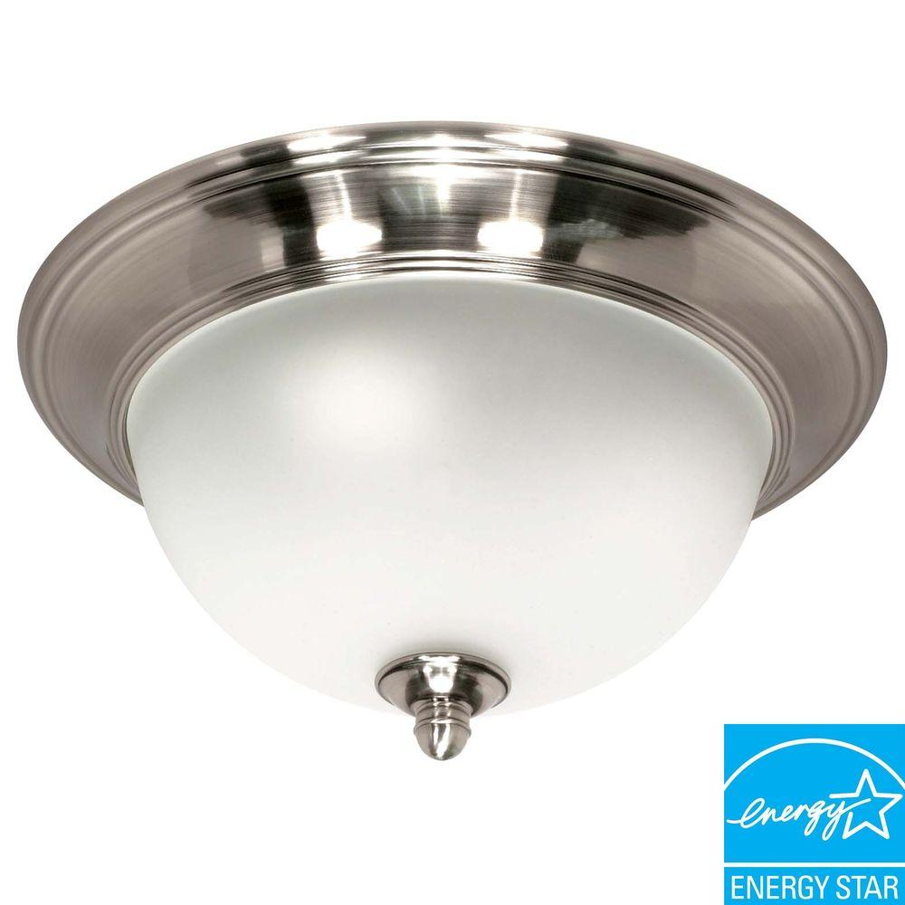 Green Matters Palladium 2-Light Flush-Mount Smoked Nickel Ceiling Dome Fixture