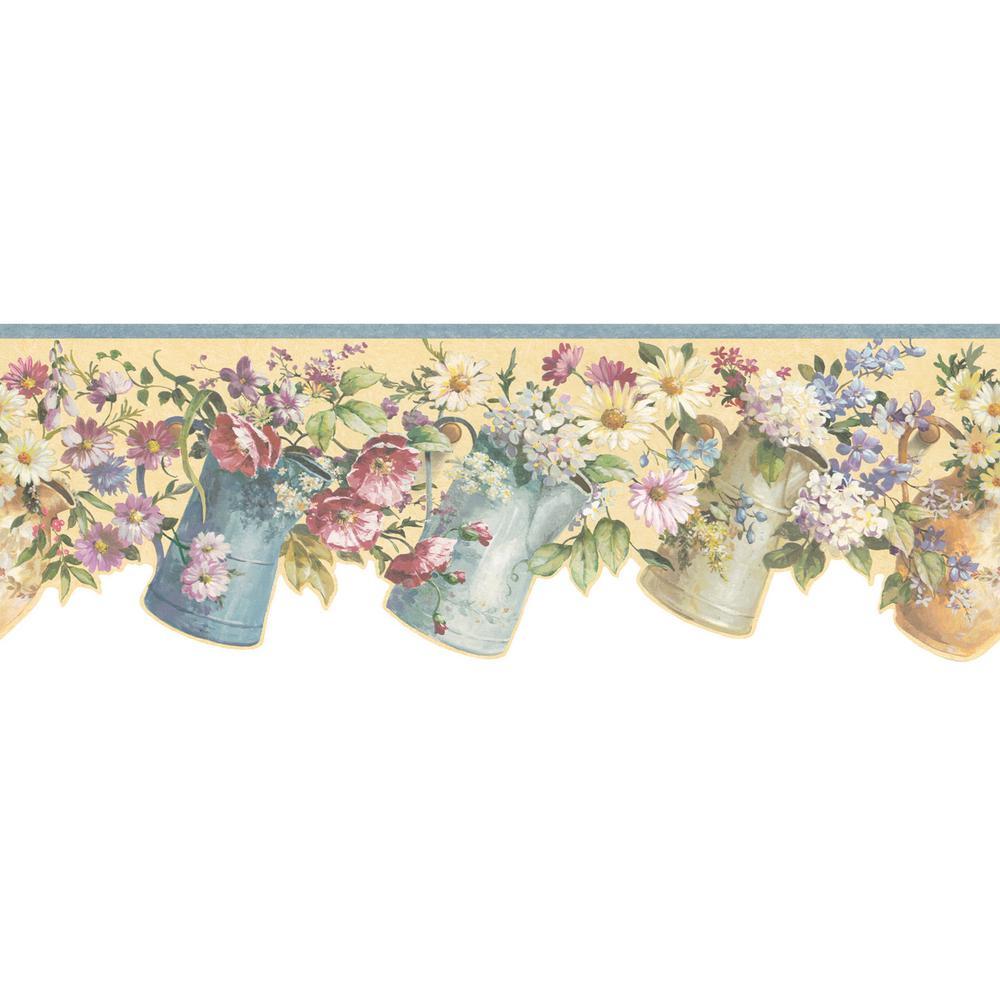 Flower pitcher wallpaper border 499 55300 the home depot - Floral wallpaper home depot ...