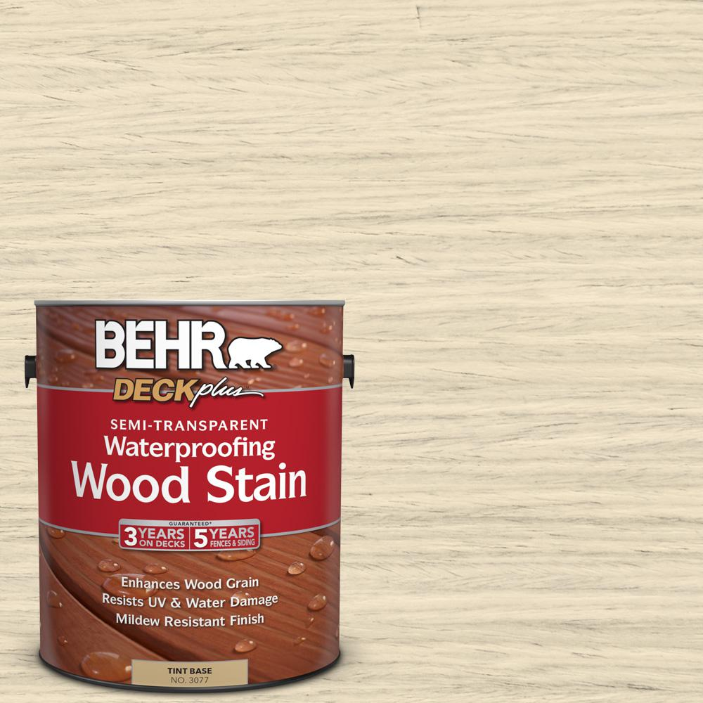 BEHR DECKplus 1 gal. #ST-157 Navajo White Semi-Transparent Waterproofing Wood Stain, Whites -  S0071801