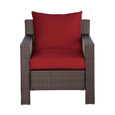 Beverly Patio Deep Seating Lounge Chair with Cardinal Cushion
