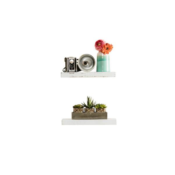 Del Hutson Designs True Floating 5.5 in x 16 in x 2 in White Pine Floating Decorative Wall Shelf with Brackets (Set of 2)
