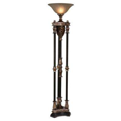 71 in. Walnut with Silvered Bronze Four Column Torchiere with Glass Globe