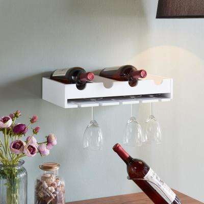 4-Laying Wine Bottle and Wineglass Wall Holder