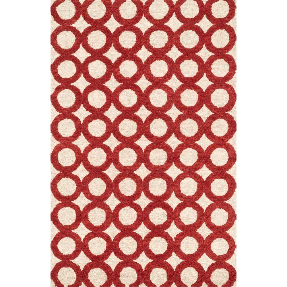 Loloi Rugs Weston Lifestyle Collection Ivory/Red 3 ft. 6 in. x 5 ft. 6 in. Area Rug